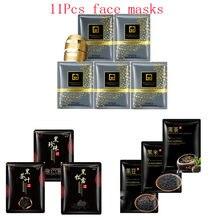 11Pcs mixed 24K Gold mask rice bearns detox tea Collagen Face Mask Moisturizing Anti-Aging black Facial Masks korean skin care