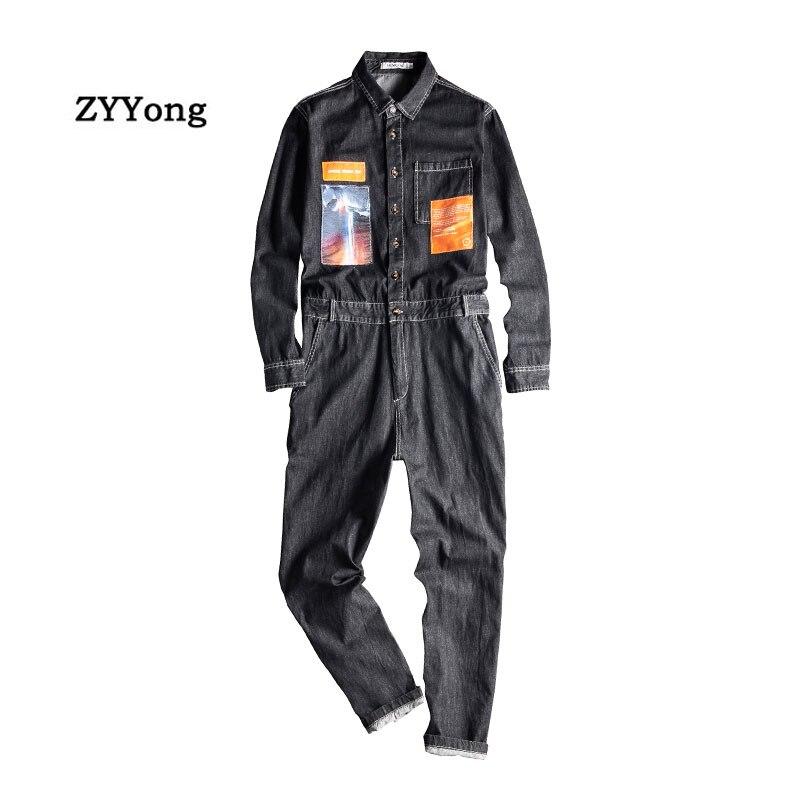 Men's Denim Jumpsuit Long Sleeve Patch Style Black Blue Overalls Hip Hop Streetwear Leisure Jeans Cargo Pants Freight Trousers