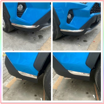 Stainless Steel Car Front/Rear Edge Corner Guard Decoration Strip For Toyota RAV4 2019 2020 Car Bumper Anti-colision Sticker