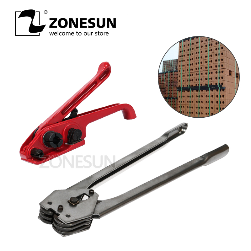 ZONESUN Manual plastic strapping tool sealer and tensioner for 12 16 mm PET PP packaging tool hand tool bricks|Hand Tool Sets| |  - title=