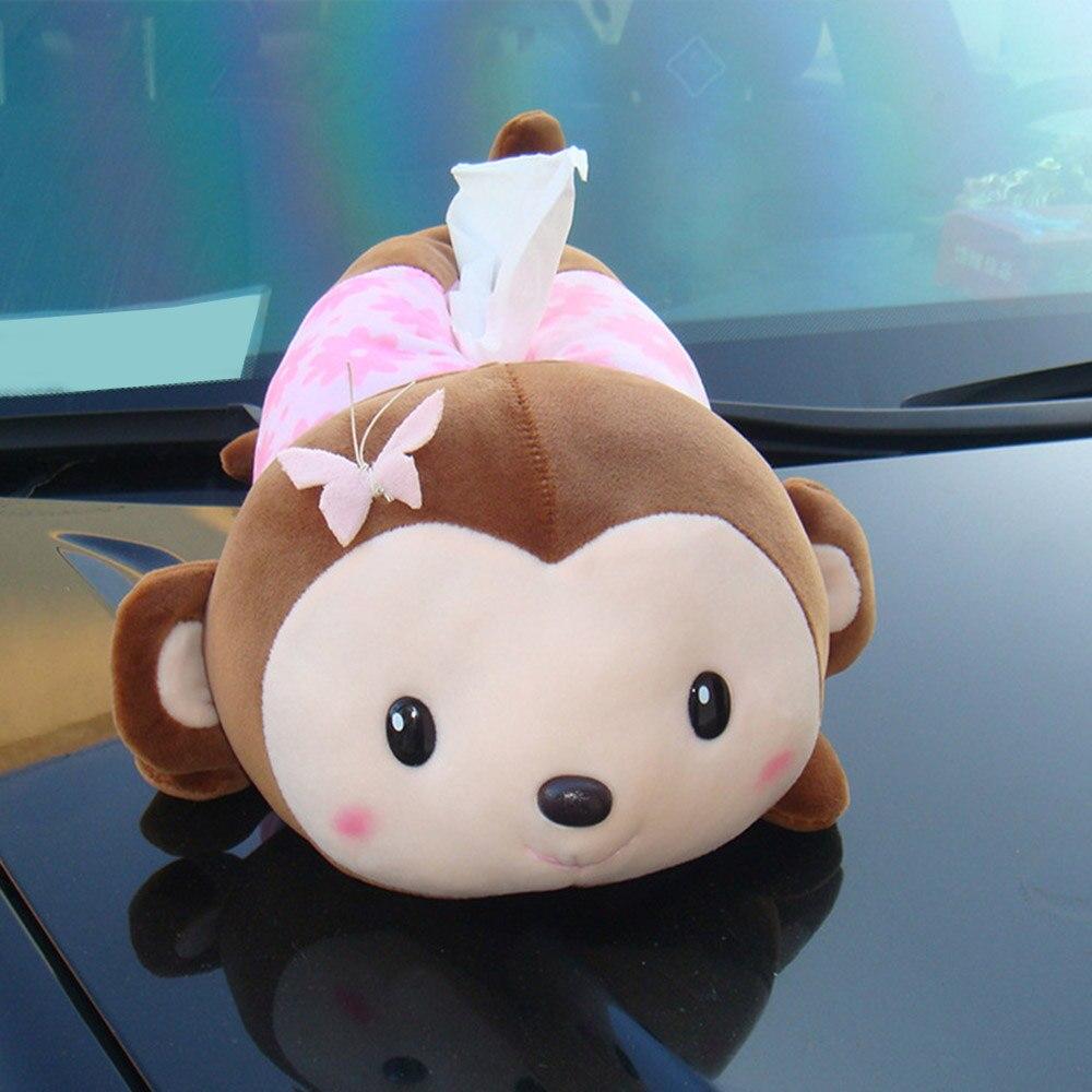 Tissue Box Holder for Car Armrest Box Cute Monkey Removable Tissue Box Cover Paper Napkin Seat Back Organizer|Tissue Boxes| |  - title=