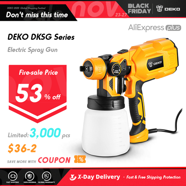 DEKO 220V Spray Gun 550W High Power Electric Paint Sprayer, 3 Nozzle Easy Spraying 1