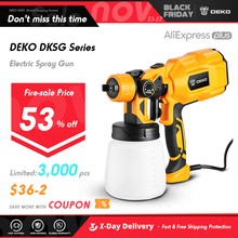 DEKO 220V Spray Gun 550W High Power Electric Paint Sprayer, 3 Nozzle Easy Spraying
