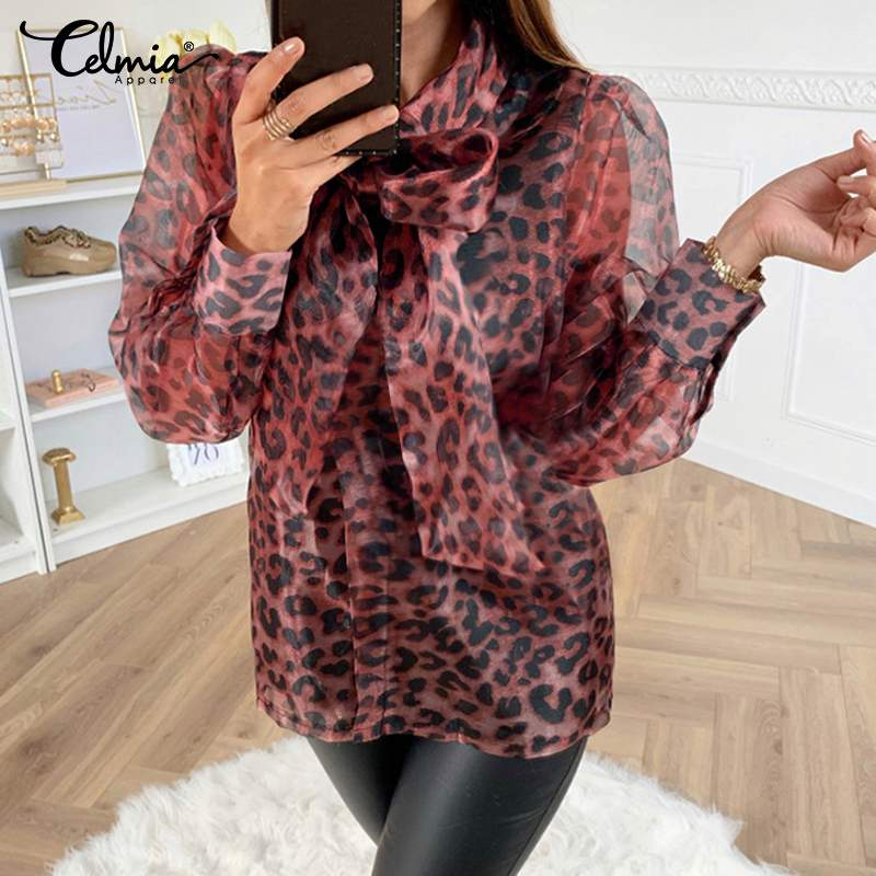 2019 Celmia Fashion Women Leopard Print Blouses Long Sleeve Sheer Mesh Shirts Casual Loose Bow Tie Loose Tops Elegant Blusas 5XL