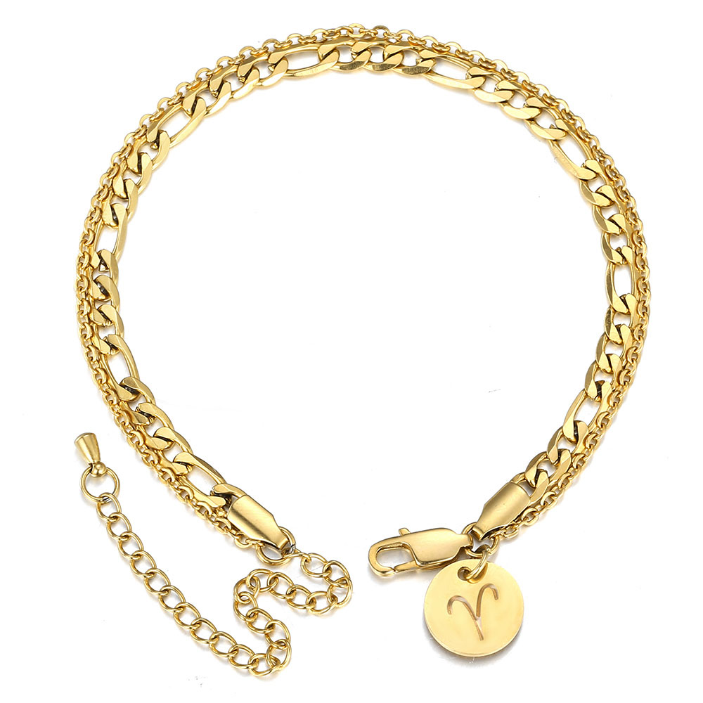 New 12 Constellation Zodiac Signs Charm Anklet Gold Color Double Layer Figaro Rolo Chain Anklet Foot Jewelry For Women DA43