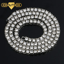 Fashion Iced Out Rhinestones Necklace Hip Hop Choker For Men 5mm Width Silver 1 Row Tennis Chain Necklace 20inch Drop Shipping(China)