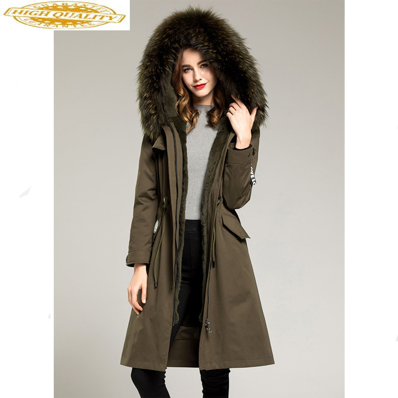 Natural Rabbit Fur Liner Parka Women Long Trench Coat 2020 Autumn Winter Jacket Women Raccoon Fur Collar Overcoat MY3539