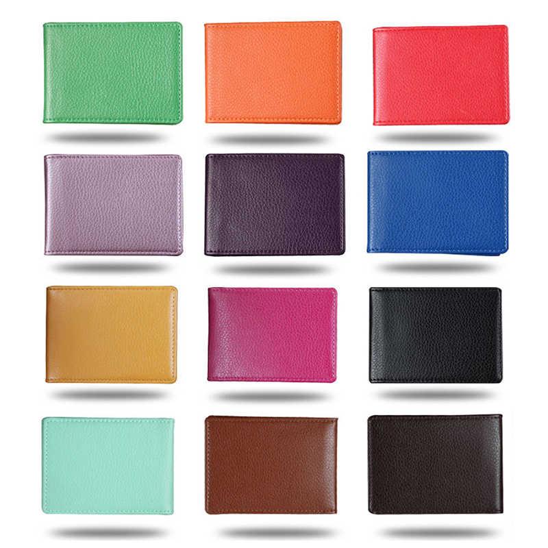Couverture de porte-passeport de permis de conduire en cuir d'unité centrale de couleur unie pour le dossier de porte-carte de crédit d'affaires de Documents