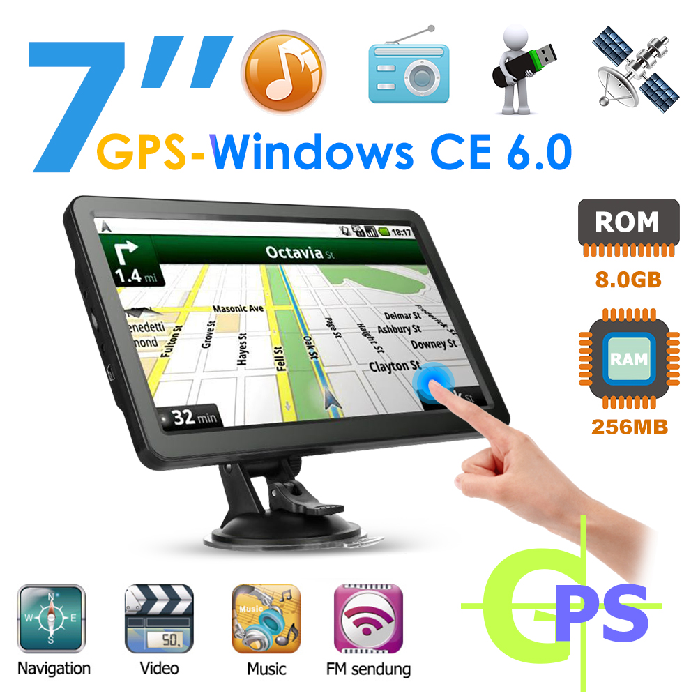 Q10 7 inch Display 256MB RAM 8GB ROM FM Car Truck GPS Navigator System Intelligent Voice Broadcast Car Accessories