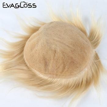 EVAGLOSS Men Toupee Full Swiss Lace Men Wig Hair System100% Natural Remy Men Hair Wig Natural Peruk Toupee Men Human Hair