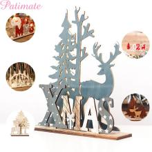 PATIMATE Christmas Wooden Ornament Tree Decoration For Home 2019 New Year Ornaments