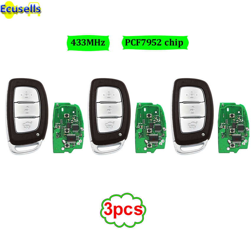 3pcs Lot For Hyundai Verna Elantra Smart Remote Key Control 433mhz Keyless Entry Push Start Key Fob With Pcf7952 Chip Uncut Aliexpress