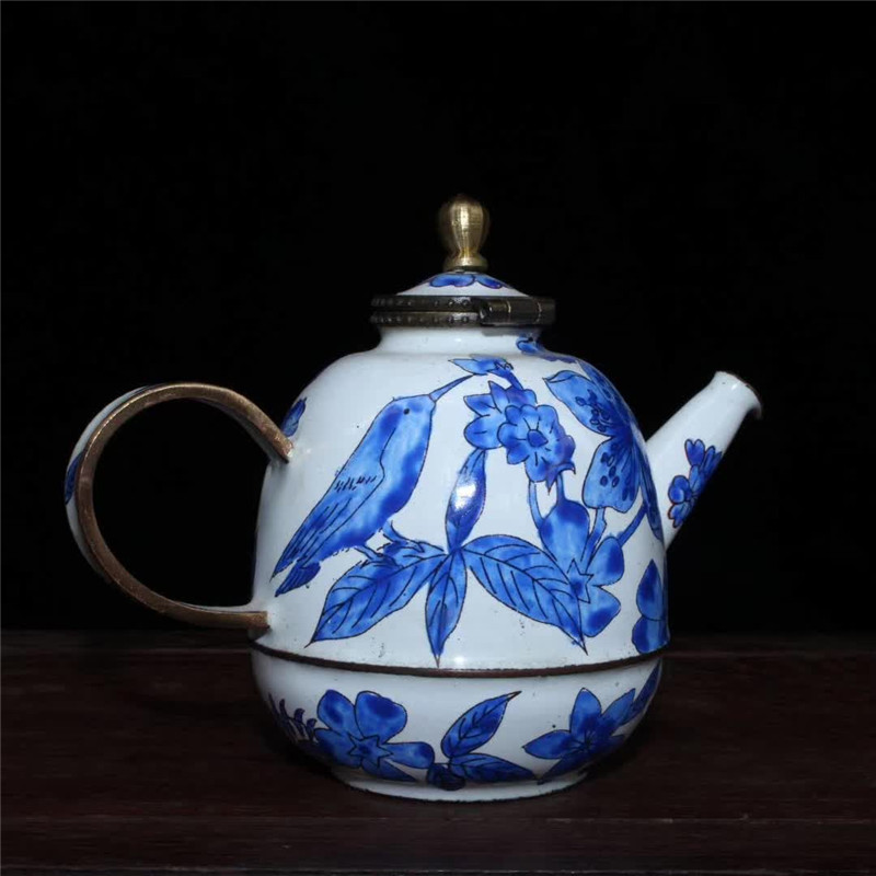 Collection Chinese Hand-made Red Copper Painting Flower Bird Teapot Water Pot Exquisite Gift Fengshui Home Decoration