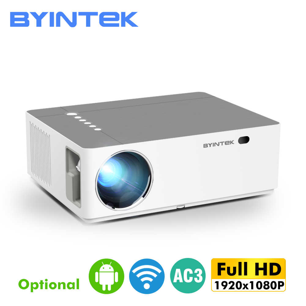 Bulan K20 1920*1080 Full HD BYINTEK Smart Android Dukungan Wifi AC3 300 Inci LED Video Projector dengan USB untuk Home Theater Cinema