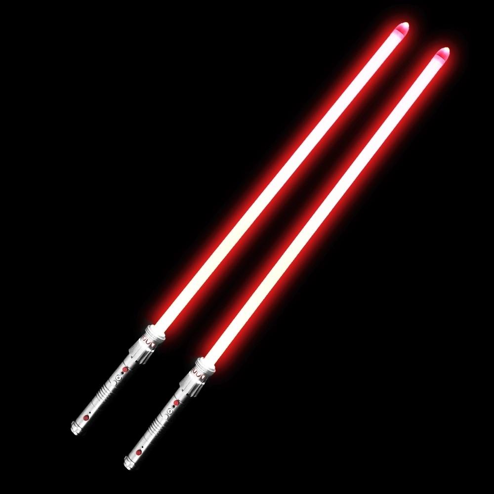 Darth Maul Lightsaber 2 mango de Metal + 2*82cm 1 pulgada hoja pesada Dueling con LED rojo