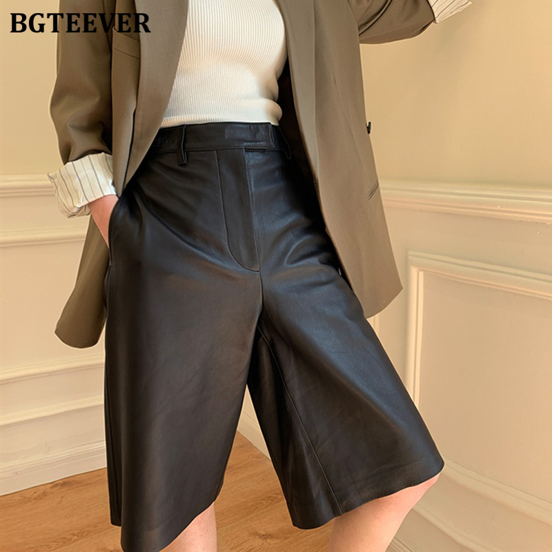 BGTEEVER High Waist Women PU Leather Shorts Motorcycle Female Faux-leather Loose Shorts Army Green Spring Summer 2020
