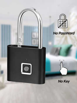 Smart Fingerprint Padlock Keyless USB Rechargeable Quick Unlock Black Silver Free Ship