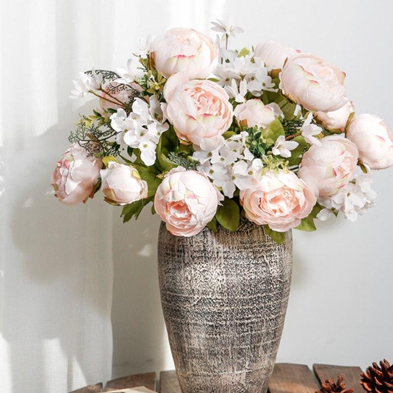 Искусственные пионы, 1 шт., 13 головок, букет цветов, винтажные искусственные пионы, шелковые цветы, украшение для свадьбы, дома Вечерние