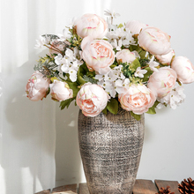 1pc 13 heads Fake Peony Flowers Bouquet Vintage Artificial Peony Silk Flowers Wedding Home Party Decoration