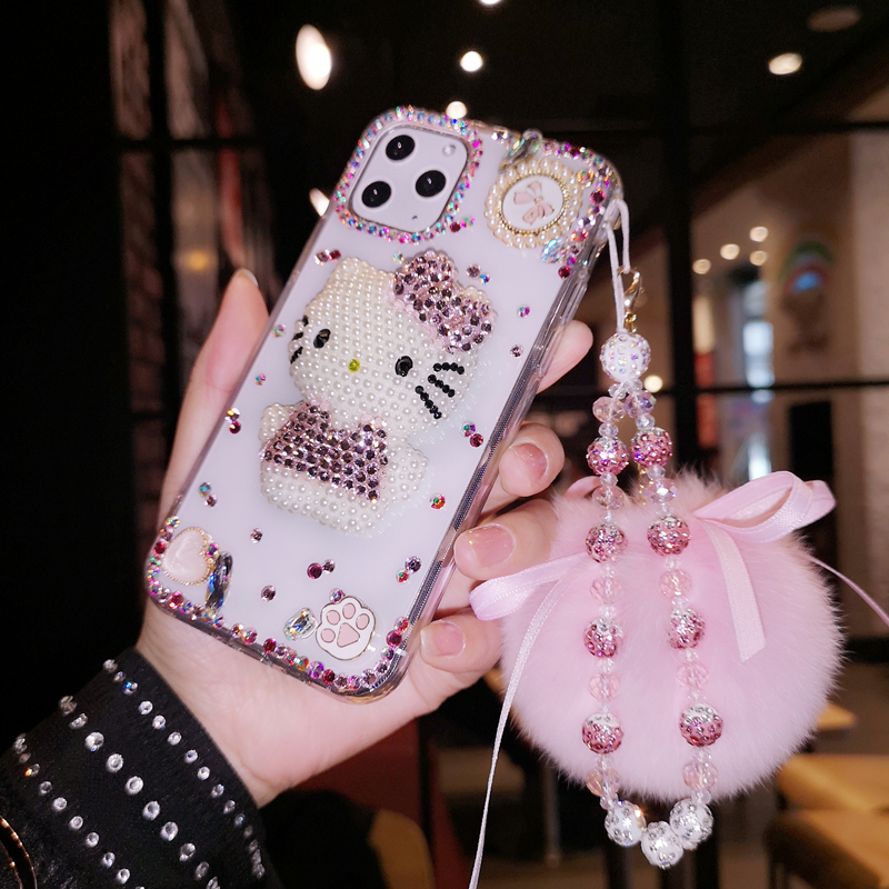 For Samsung Galaxy Note 20 10 9 8 S20 FE S21 Ultra S10E/9/8 Plus Fashion Bling Crystal Diamond Cute Bowknot Pearl Case Cover