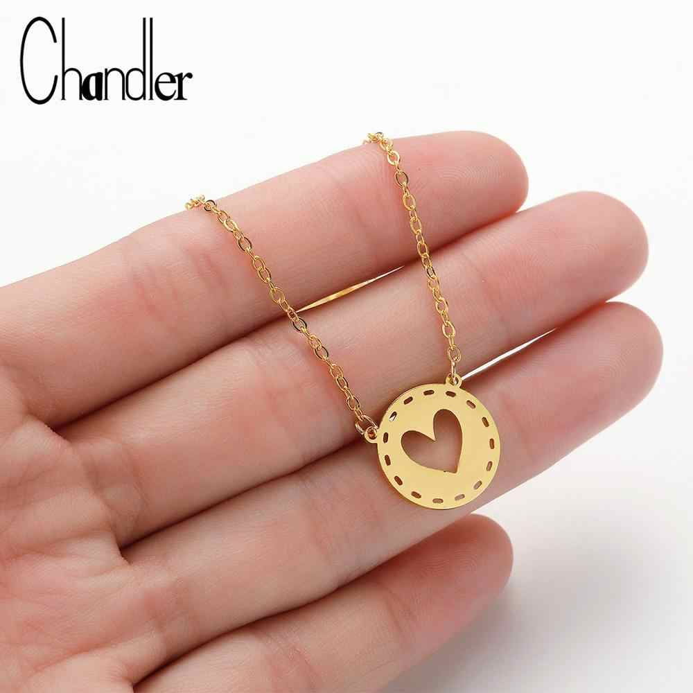Chandler Stainless Steel Round Love Heart Necklace For Women Silver Gold Color Romantic BFF GF Best Gifts For Her His Choker
