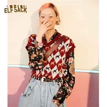 ELFSACK Cotton Vintage Animal Print Women Sweaters,2019 Autumn New V-neck Sleeveless Female Knitted Vest Streetwear Casual Tops