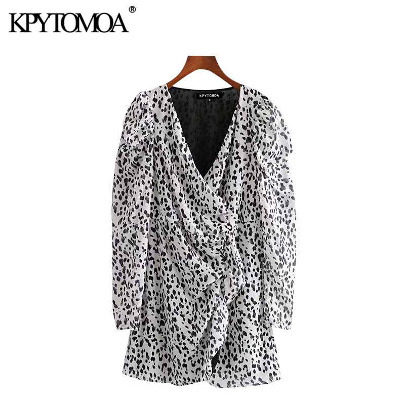 KPYTOMOA Women 2020 Chic Fashion Animal Print Ruffled Mini Dress Vintage Wrap V Neck Puff Sleeve Female Dresses Vestidos Mujer