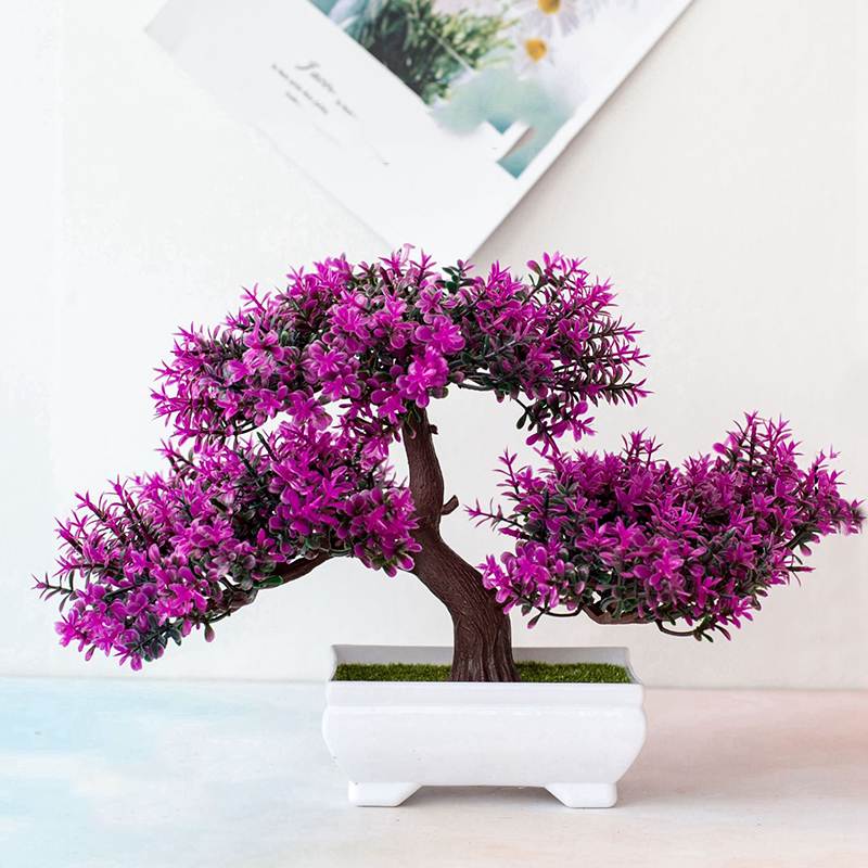 Artificial Flowers Fake Artificial Plants Green Pot Welcoming Pine Bonsai Simulation Artificial Potted Plant Ornament Home Decor
