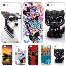 For Case Apple iPhone 5 5S SE Cover Silicone Funda For iPhone 5 5S Case Dog Cat Coque For iPhone SE Case iphone5 iphone5s cases цена