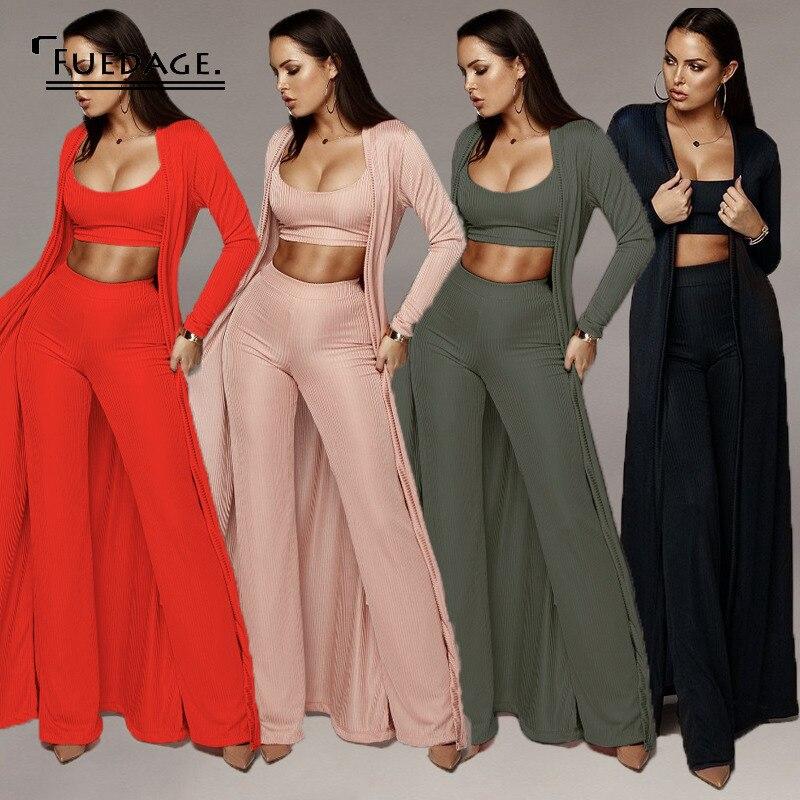 Fuedage/осенний сексуальный комплект из двух предметов, топ и штаны, комплект из 3 предметов на бретельках, женские вечерние бандажные наряды, к...