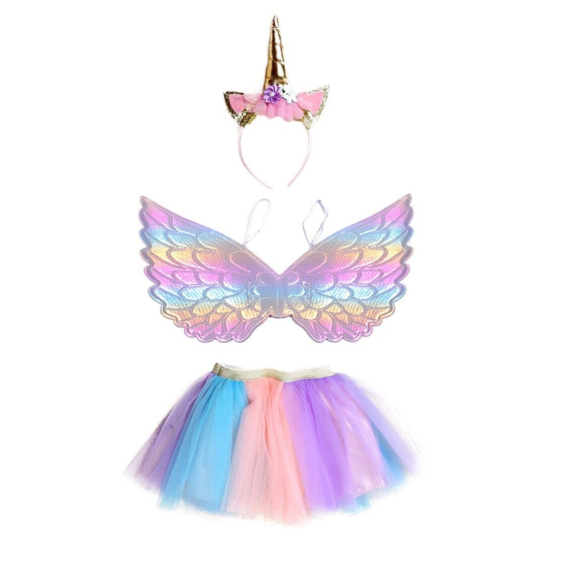 Rainbow Girls Party Mesh Tutu Skirt Unicorn Hair Bands Colorful Gradient Wings Children's Mini Fairy Skirts Three Piece Suits