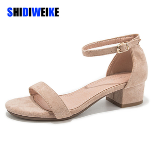 Image 1 - Beige Black Gladiator Sandals Summer Office High Heels Shoes Woman Buckle Strap Pumps Casual Women Shoes Plus Size 34 40 n686