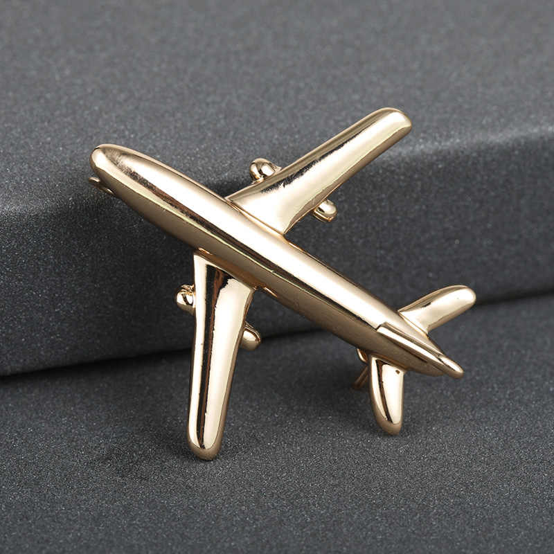 Blucome Fashion Plane Shape Brooch Badge Good Quality Metal Aircraft Sweater Corsage Women Men Brooches Lapel Decoration Gifts