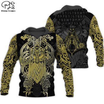 Viking Warrior Tattoo Colorful 3D Print Hoodie/Sweatshirt/Jacket 1