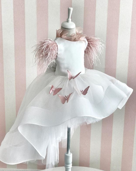 White High Low Flower Girls Dresses Pink Feather Cap Sleeve Sweep Train Pageant Birthday Communication Dresses Custom