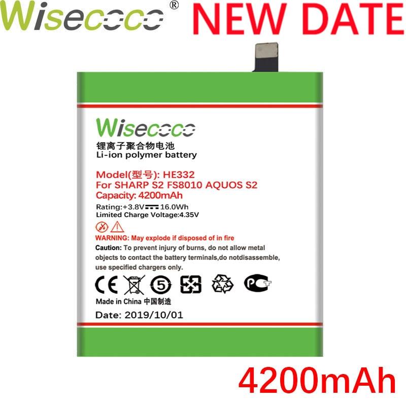 Wisecoco he332 4200 mah nova bateria poderosa para sharp s2 fs8010 aquos s 2 ele 332 celular substituição da bateria + número de rastreamento