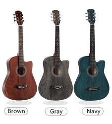 38 Inches Acoustic Guitar Beginners 6 Strings Classic Beginner Wooden Guitar Practise Show Guitar Christmas Gift Guitar Acoustic