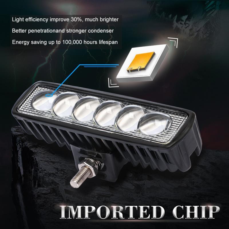 12V 18W 6led LED Bar Car Work Light Bar Spotlight Lights For Truck Tractor SUV ATV Offroad Lights Night Working 6000K White