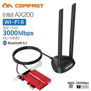 Двухдиапазонный беспроводной адаптер 3000 Мбит/с Wifi 6 AX200NGW PCI-E 1X 2,4 ГГц/5 ГГц 802.11ac/ax Bluetooth 5,1 для сетевой карты Win10 AX200
