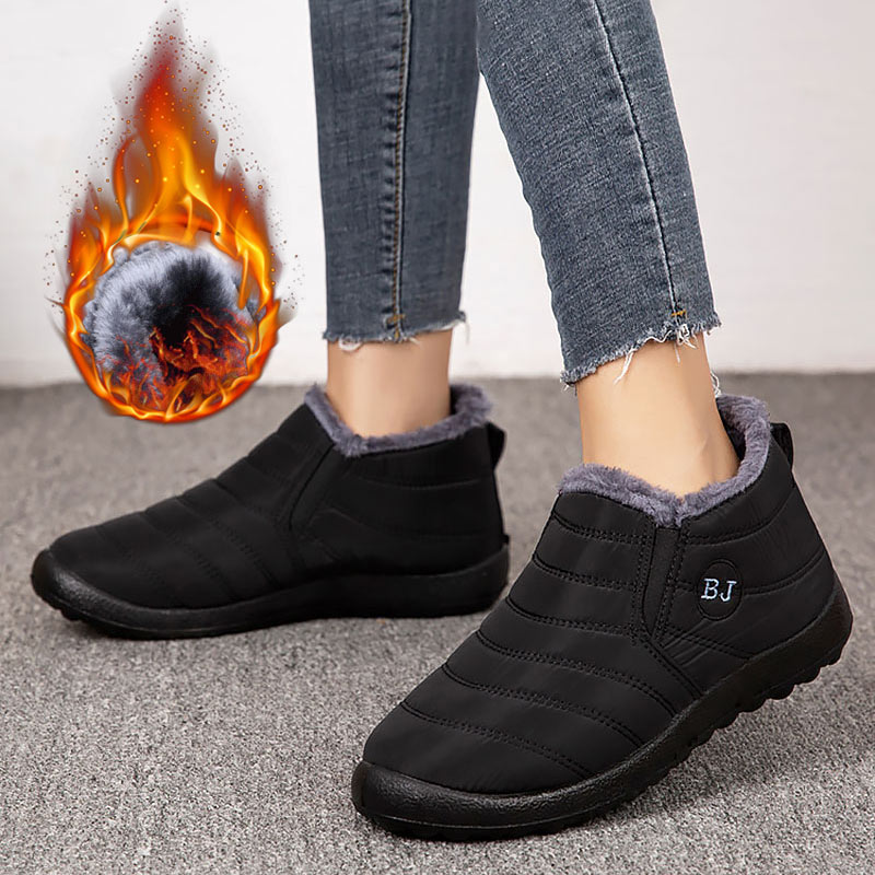 Женские зимние ботинки 2020, однотонные плюшевые стельки, зимние ботинки, нескользящая подошва, водонепроницаемые женские ботинки, женская о...