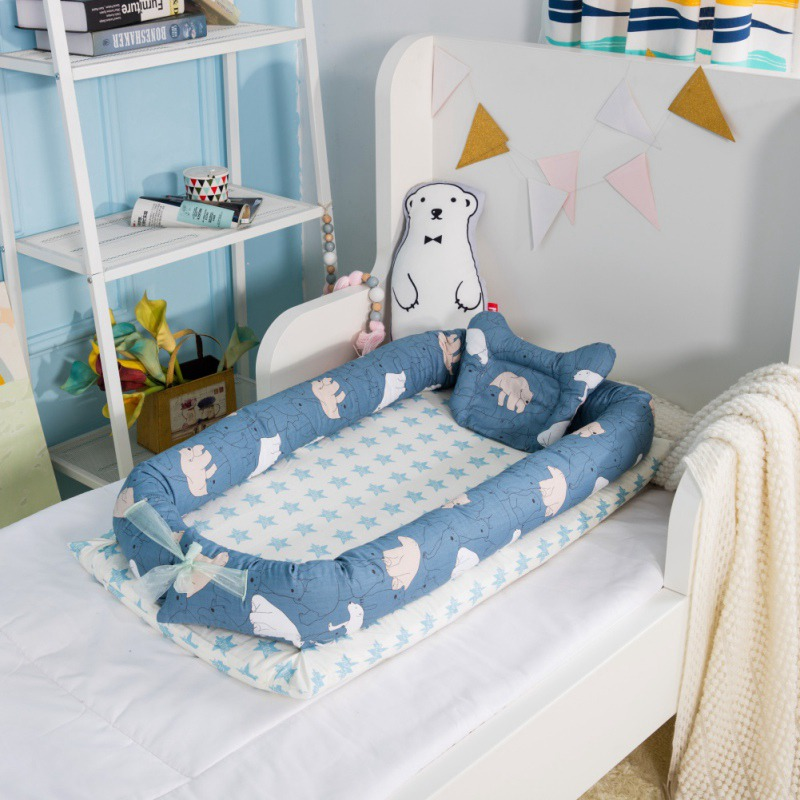 Portable Bed With Pillow Baby Lounger For Newborn Crib Breathable And Sleep Nest With Pillow