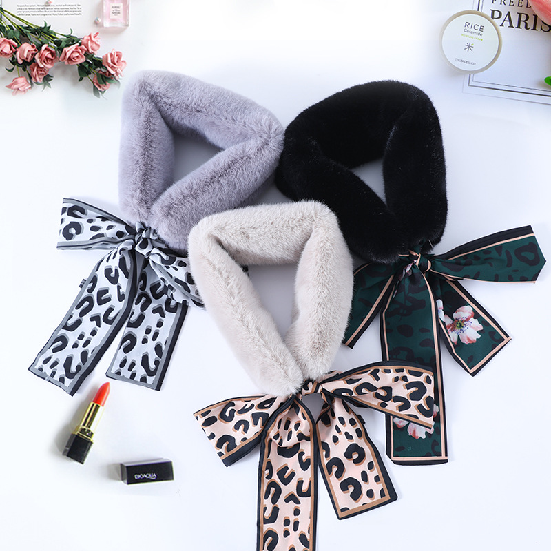 Wool Collar, Bib, Female Wool Collar, Korean Version, All Kinds Of Leopard Bow Tie, Rabbit Hair Like Ribbon, Wool Scarf, Winter