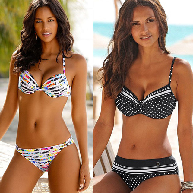 Bikini 2020 Women Push Up Swimsuit Dot Sexy Swimwear Halter Print Padded Bathing Suit Beachwear Two Piece Bikini Brasileño