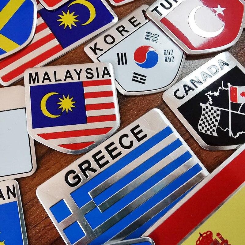 1 Pcs Car Stickers Aluminum Flag Car Stickers Flag Shield Sticker 3D Car Sticker Top Car Decoration Multinational National Flag