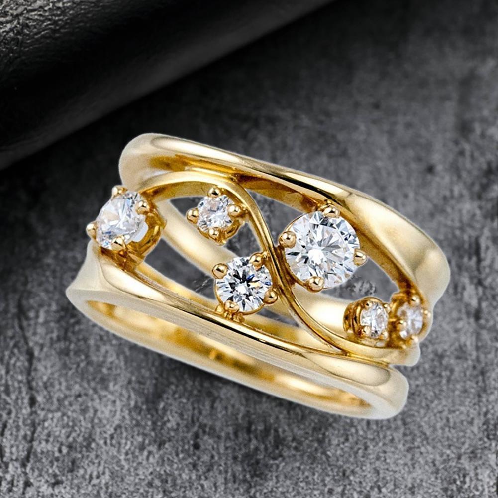 Neue Frauen Metall Zirkon Intarsien Ring Elegante Geometrische Welle Form Reif Schmuck Geschenk
