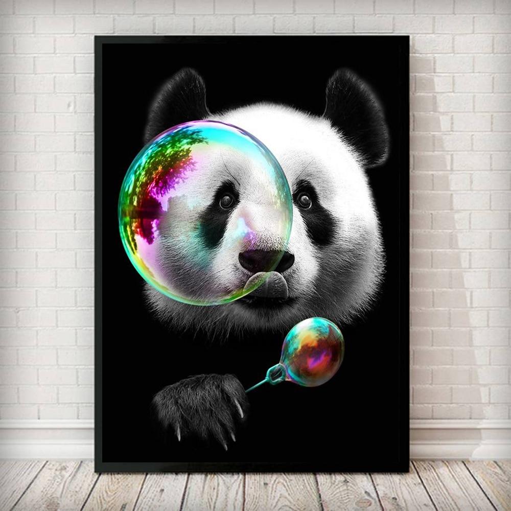 Скандинавские панды забавные пузырьки Абстрактная Картина на