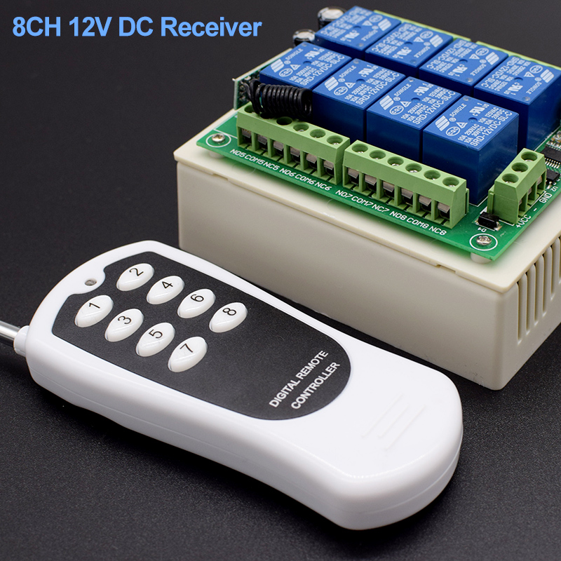 433MHz Wireless Remote Control Receiver DC 12  24V 23A 8CH Rf Relay  And Transmitter For Electric Curtain And Garage Door Contro