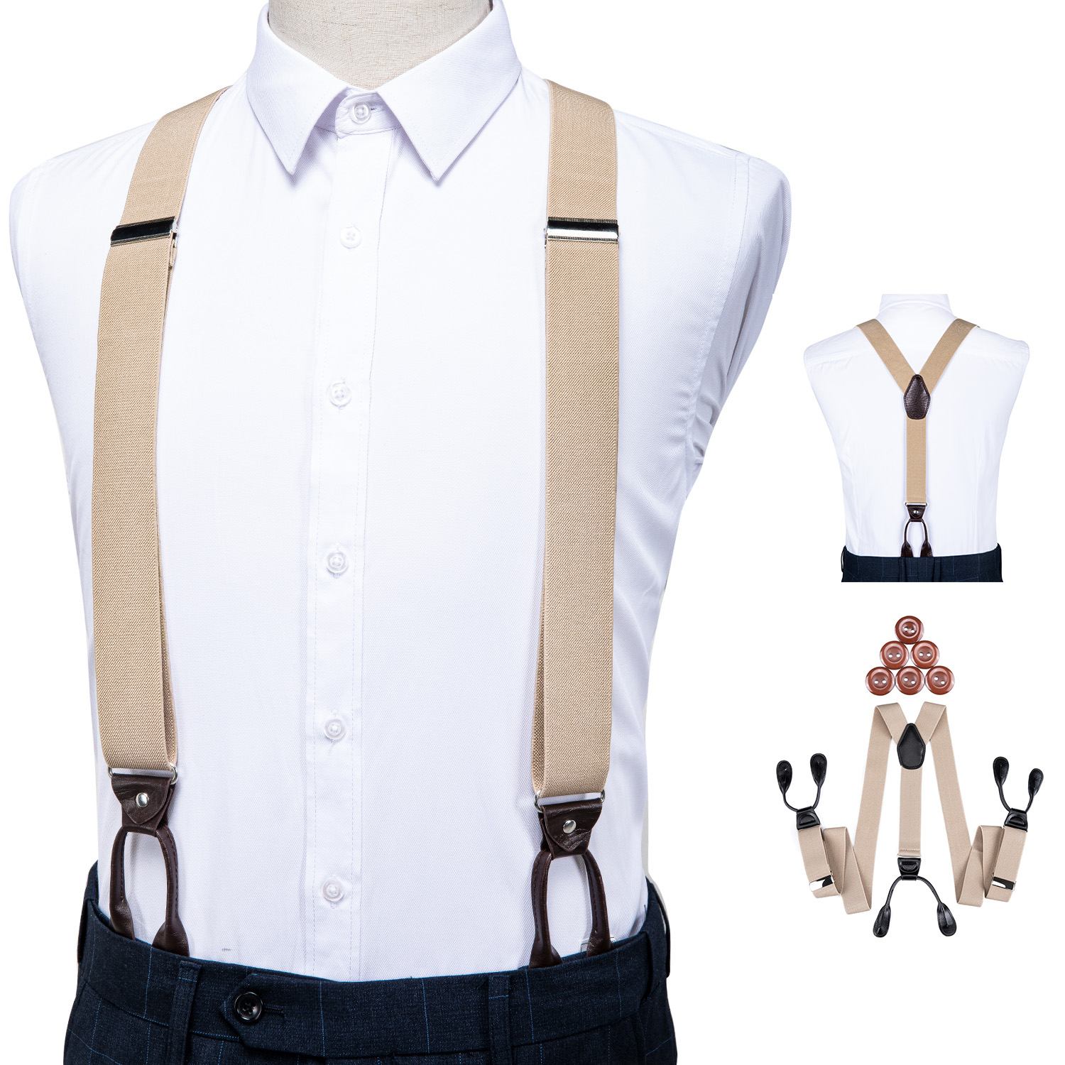 Suspenders For Men Leather Trimmed Button End Elastic Tuxedo Y Back Adjustable Mens Fashion Suspenders Pant Braces Khaki DiBanGu