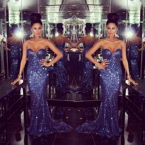 Dazzling Sparkly Mermaid Prom 2018 Fashion New Navy Blue Sweetheart Sequins Long Prom Vestidos De Baile Mother Of Bride Dresses