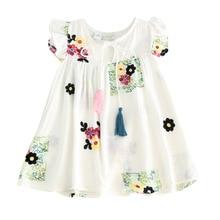 Детское летнее платье с цветочной вышивкой для девочек детское платье с рукавами-крылышками